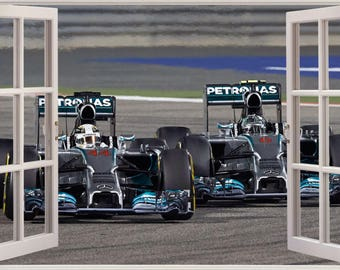 3D Window View Formula F1 Race Cars Wall Decal Sticker Frame Mural Effect  Home Decor Bedroom