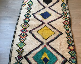 Free Shipping! AZILAL Rug 8.5'x3.9' Vintage with Rainbow Losanges