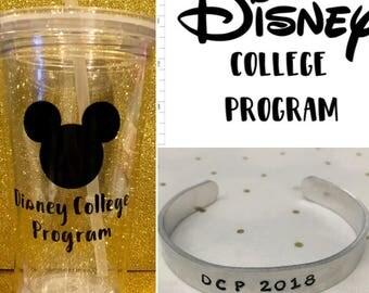 Disney College Program Starter Kit Gift Set DCP Disneyland Disney World Tumbler Water Bottle Stamped bracelet Computer Decal Mickey Mouse