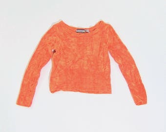 Wide neck cropped orange 90s sweater