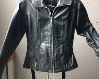 Fitted black leather jacket circa 1980