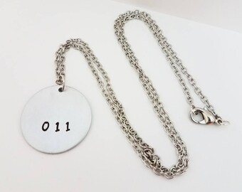 Stranger Things Jewelry Hand Stamped Metal Jewelry Geek RUN Necklace Eleven 011 Elle
