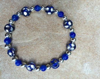 Gift for her\blue and silver glass and metal beaded bracelet size medium