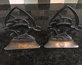 Vintage Art Deco Gazelle Bronze Covered Cast Iron Bookends- C. 1920's