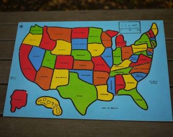 United States Puzzle Etsy - Us jigsaw map wood