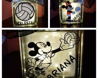 Mickey volleyball Glass Block