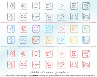 14 Social Media Buttons Stiched . sewn blog scrapbooking fashion sew tailor