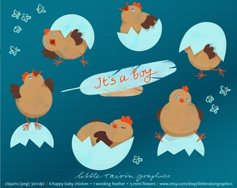 Happy baby chicken clipart set boy . download . freshly hatched . cute . baby shower . Baby is here . commercial use