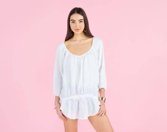 Gauzy linen  3/4 sleeve relaxed shirt
