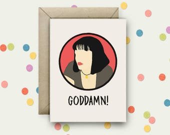 Pulp Fiction Pop Art and Quote A6 Blank Greeting Card with Envelope