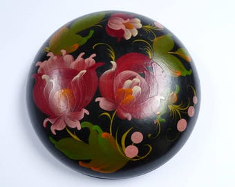Vintage Jewelery Round Wooden Box Russian Folk Art Hand Painted Rustic Style Flowers