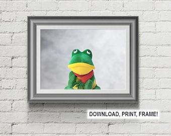 Frog print,Baby room decor,Wall art,Peekaboo Frog,Frog poster,Downloadable print,Nursery Room Print, Nursery Room Wall Art, Baby room art