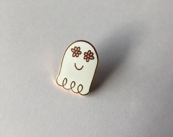 "Cute Kawaii Style Enamel Pin // lapel pin // gifts for her // christmas gifts // ghost // dainty jewelry //  rose gold // ""Flower Ghost"""