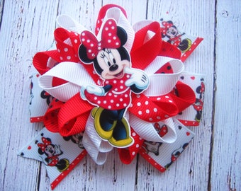 Minnie Mouse Hair Bow Minnie Mouse Birthday Party Red White Black Bow Minnie Mouse Birthday Minnie Dress Minnie Outfit Loopy Hair Bow