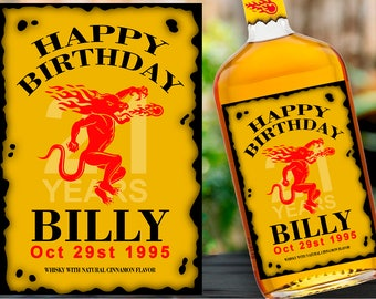 Fireball Label Whisky Custom label Gift ideas Happy birthday gift for best friend Birthday gift for him Personalized custom labels