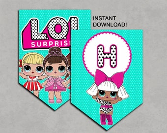 LOL Surprise Dolls Inspired Banner Printable Birthday DIY Decorations Instant Download Pdf Bunting Flags No waiting Decorations