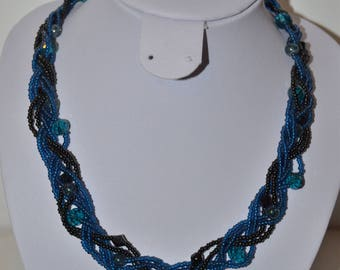 dark blue and black cord necklace