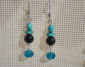 Earrings turquoise blue and black