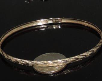 """Vintage Estate 10K Yellow Gold4 mm Diamond Cut Bangle Bracelet 3.63 Grams 8"""""""