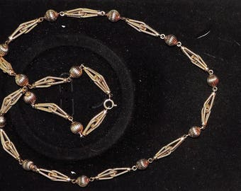 "UNOAERREItalySolid 14K Yellow Gold 10mm Ball Fancy Link Necklace 53.88 Grams 10 mm by 30"""