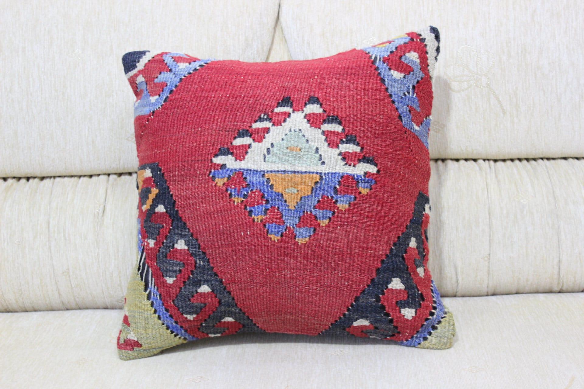 16x16 Kilim Pillow Kelim Cushion Wool Pillow Aztec Pillow Boho Decor Home  Decor Pillow Anatolian Pillow