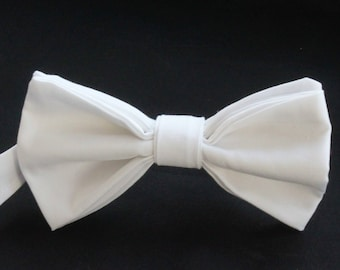 Bow Tie. UK Made. White Cotton. Premium Quality. Pre-Tied.