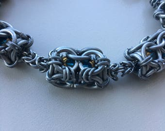 Cerulean and Silver Chainmaille Bracelet