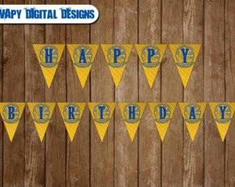 Golden State Warriors DIGITAL Happy Birthday Banner Party DIY