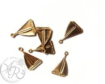 Raw Brass Sailboat Charm, 6 pcs, 11x16mm