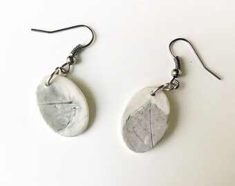 Rose Leaf Imprint Polymer Clay Earrings