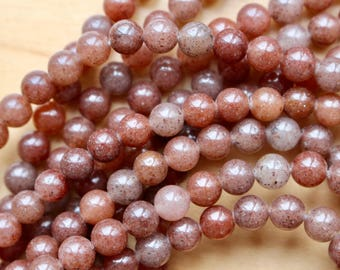 6mm Strawberry Aventurine, full strand, natural stone beads, round, 60025