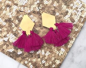 Geometric Diamond Tassel Drop Earrings |  Pink Gold & Brass