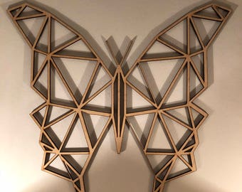 Geometric Butterfly Wood