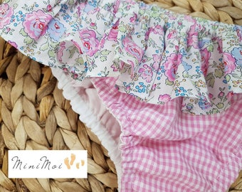 Pink girl Liberty bliss and gingham swimsuit