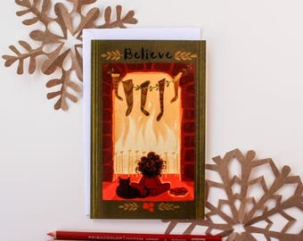 "Christmas Card, ""Holiday Warmth,"" ""Believe"" 5 by 7 inches"
