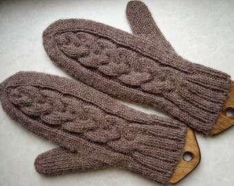 Hand knit womens mittens Alpaca wool acrylic blend Light brown women gloves Soft warm ladies mittens Knitted colleague gift  Handknit gloves