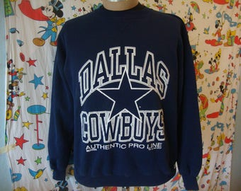 Vintage 90's Dallas Cowboys Russell Athletic NAvy Blue NFL Crew Neck Sweatshirt Sz XL