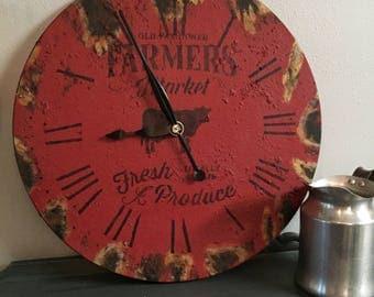 """24"""" Farmers Market Clock, Rusty Clock, Large Wall Clock, Rustic Clock, Farmhouse Clock, Red Clock, Farmhouse Decor,"""