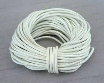 3 m - 2mm - white genuine leather cord