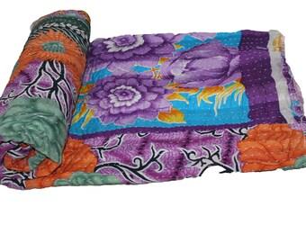 Multi Color Floral Handmade Vintage Reversible Kantha Quilt, Twin Old Cotton Kantha Bedspread Kantha Gudri Cotton Blanket 142