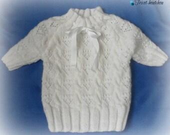 Pull 2 ans blanc manches 3/4 tricoté main