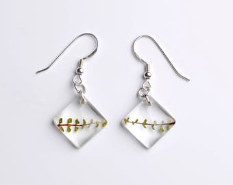 Resin earrings-true fern leaf-