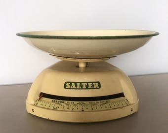 Vintage salter scales / retro/ kitchenali /french enamel / enamelware / gifts / home / shabbychic / antiques / breadbin / sylvac / ideas
