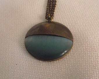 Blue glass pendant necklace