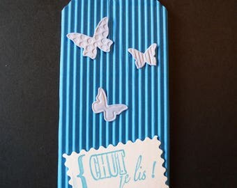 Example bookmark pink and blue with butterflies