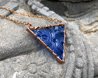 Blue Stained Glass Electroformed Copper Necklace   Bohemian Fashion Necklace  Magnetic Clasp Necklace