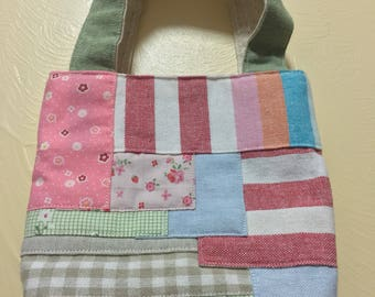 Mini cotton tote bag with patchwork