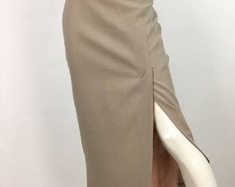 90s khaki midi skirt/1990s Beechers Brook midi skirt
