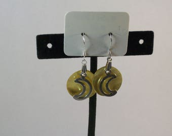 Yellow Mussel shell with moon charm earrings