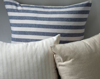 Marine & Oatmeal // Couch Throw Pillows // Decorative Pillows // Accent Pillows for Couch